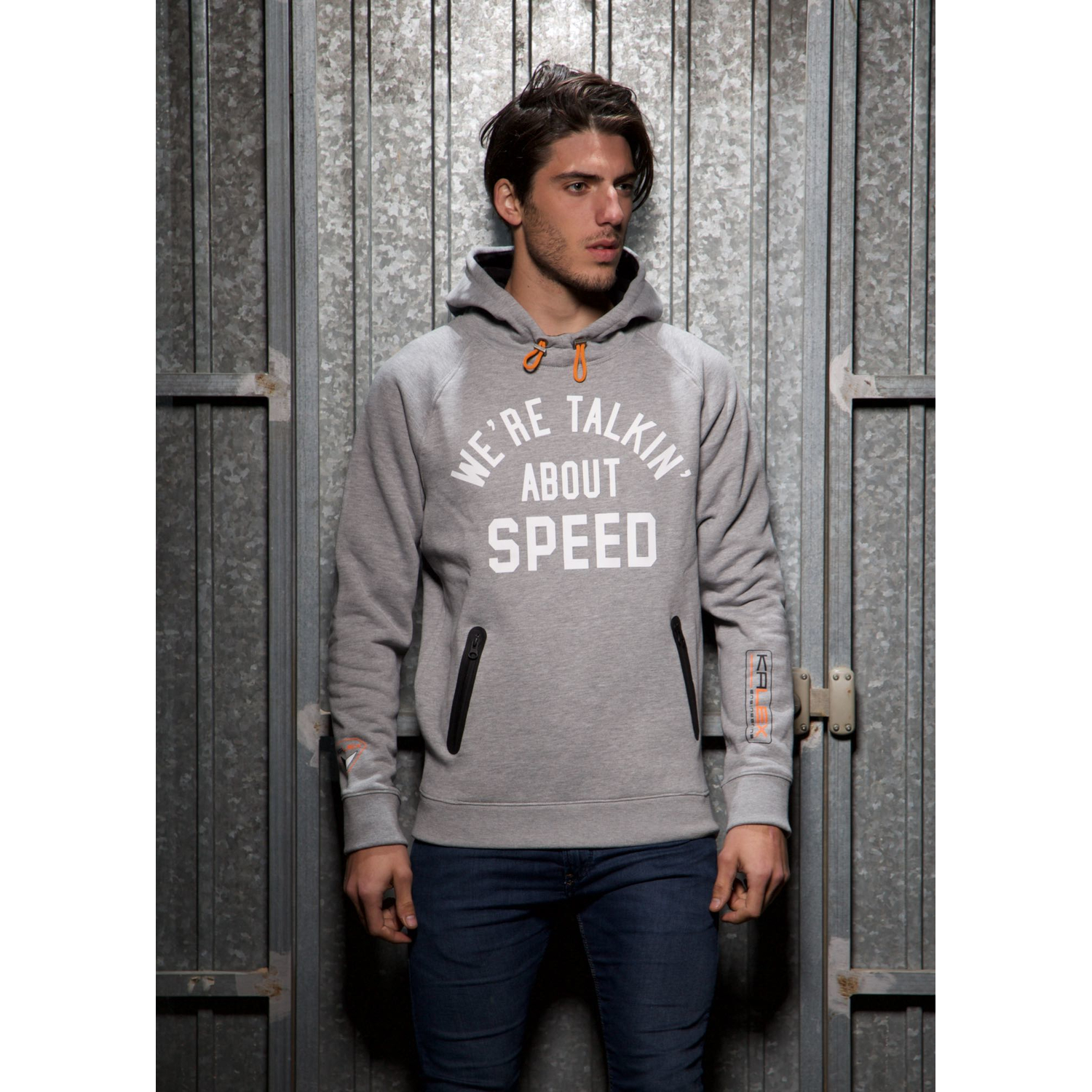 HOODED SWEATSHIRT GREY HEATHER S