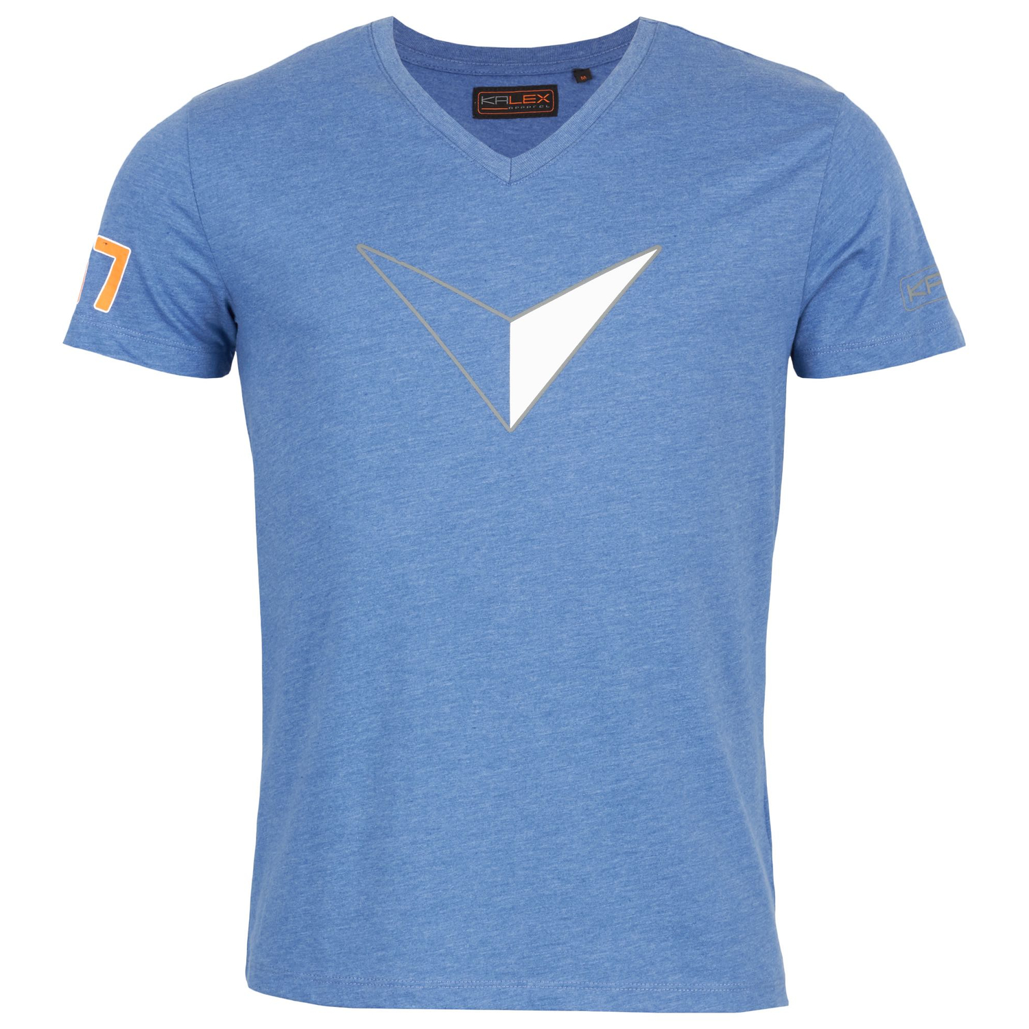 T-SHIRT BIG V DRUCK BLAU MELANGE XL
